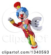 Clipart Of A 3d Colorful Clown Flying And Holding A Euro Currency Symbol Royalty Free Illustration