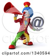 Clipart Of A 3d Colorful Clown Announcing With A Megaphone And Holding An Email Arobase At Symbol Royalty Free Illustration