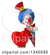 Clipart Of A 3d Colorful Clown Holding A Red Love Heart Around A Sign Royalty Free Illustration