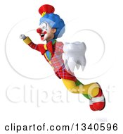 Clipart Of A 3d Colorful Clown Holding A Tooth And Flying Up To The Left Royalty Free Illustration