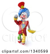 Clipart Of A 3d Colorful Clown Holding A Banana And Flying Royalty Free Illustration