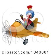 Clipart Of A 3d Colorful Clown Aviator Pilot Giving A Thumb Down And Flying A Yellow Airplane Royalty Free Illustration