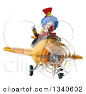 Clipart Of A 3d Colorful Clown Aviator Pilot Giving A Thumb Up And Flying A Yellow Airplane Royalty Free Illustration