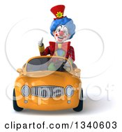Clipart Of A 3d Colorful Clown Giving A Thumb Up And Driving An Orange Convertible Car Royalty Free Illustration