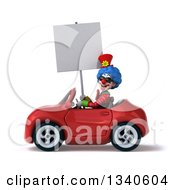 Clipart Of A 3d Colorful Clown Wearing Sunglasses Holding A Blank Sign And Driving A Red Convertible Car Royalty Free Illustration