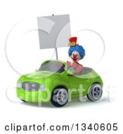 Clipart Of A 3d Colorful Clown Holding A Blank Sign And Driving A Green Convertible Car Royalty Free Illustration