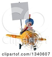 Clipart Of A 3d Colorful Clown Aviator Pilot Holding A Blank Sign And Flying A Yellow Airplane 2 Royalty Free Illustration
