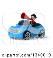 Clipart Of A 3d White And Black Clown Announcing With A Megaphone And Driving A Blue Convertible Car Royalty Free Illustration