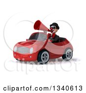 Clipart Of A 3d White And Black Clown Wearing Sunglasses Announcing With A Megaphone And Driving A Red Convertible Car 2 Royalty Free Illustration