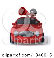 Clipart Of A 3d White And Black Clown Wearing Sunglasses Announcing With A Megaphone And Driving A Red Convertible Car Royalty Free Illustration