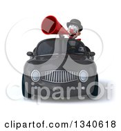Clipart Of A 3d White And Black Clown Announcing With A Megaphone And Driving A Gray Convertible Car Royalty Free Illustration