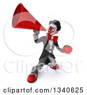 Clipart Of A 3d White And Black Clown Holding A Tomato And Announcing Upwards With A Megaphone Royalty Free Illustration