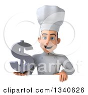 Clipart Of A 3d Young White Male Chef Holding A Dollar Currency Symbol Over A Sign Royalty Free Illustration