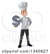 Clipart Of A 3d Young White Male Chef Holding A Dollar Currency Symbol Royalty Free Illustration