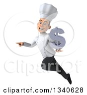 Clipart Of A 3d Young White Male Chef Holding A Dollar Currency Symbol Flying And Pointing To The Left Royalty Free Illustration