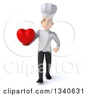 Clipart Of A 3d Young White Male Chef Holding A Red Love Heart And Walking Royalty Free Illustration