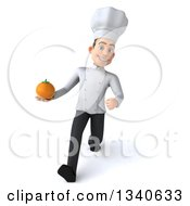 Clipart Of A 3d Young White Male Chef Holding A Navel Orange And Speed Walking Royalty Free Illustration