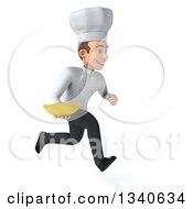 Clipart Of A 3d Young White Male Chef Holding A Banana And Sprinting To The Right Royalty Free Illustration
