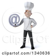 3d Young Black Male Chef Holding An Email Arobase At Symbol