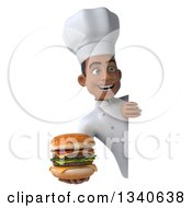 Clipart Of A 3d Young Black Male Chef Holding A Double Cheeseburger Around A Sign Royalty Free Illustration