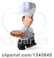 Clipart Of A 3d Short White Male Chef Holding A Pizza And Walking To The Right Royalty Free Illustration by Julos