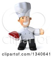 Clipart Of A 3d Short White Male Chef Holding A Beef Steak And Presenting Royalty Free Illustration by Julos