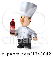 Clipart Of A 3d Short White Male Chef Holding A Soda Bottle And Walking Slightly To The Left Royalty Free Illustration by Julos