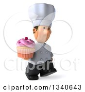 Clipart Of A 3d Short White Male Chef Holding A Pink Frosted Cupcake And Walking Slightly To The Right Royalty Free Illustration by Julos
