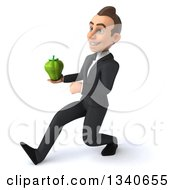 Clipart Of A 3d Young White Businessman Holding A Green Bell Pepper And Speed Walking To The Left Royalty Free Illustration