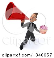 Clipart Of A 3d Young White Businessman Holding A Pink Frosted Cupcake And Announcing Upwards With A Megaphone Royalty Free Illustration