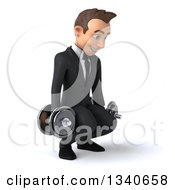 Clipart Of A 3d Young White Businessman Working Out Facing Slightly Right Squatting With Dumbbells Royalty Free Illustration