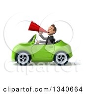 Clipart Of A 3d Young White Businessman Announcing With A Megaphone And Driving A Green Convertible Car Royalty Free Illustration