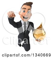Clipart Of A 3d Young White Businessman Holding An Amber Medicine Drop And Flying Royalty Free Illustration
