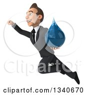 Clipart Of A 3d Young White Businessman Holding A Water Drop And Flying Up To The Left Royalty Free Illustration by Julos