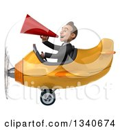 Clipart Of A 3d Young White Businessman Aviator Pilot Announcing With A Megaphone And Flying A Yellow Airplane Royalty Free Illustration