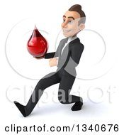 Clipart Of A 3d Young White Businessman Holding A Blood Drop And Speed Walking To The Left Royalty Free Illustration
