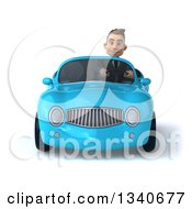 3d Young White Businessman Driving A Blue Convertible Car