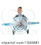 3d Young White Businessman Aviator Pilot Flying A Blue Airplane
