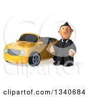 Clipart Of A 3d Sad Short White Businessman Presenting By A Yellow Convertible Car Royalty Free Illustration