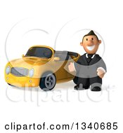 Clipart Of A 3d Happy Short White Businessman Presenting By A Yellow Convertible Car Royalty Free Illustration