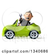 Clipart Of A 3d Happy Short White Businessman Holding A Wrench And Driving A Green Convertible Car Royalty Free Illustration