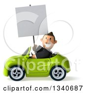 Clipart Of A 3d Happy Short White Businessman Holding A Blank Sign And Driving A Green Convertible Car Royalty Free Illustration