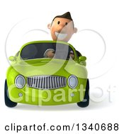 Clipart Of A 3d Happy Short White Businessman Driving A Green Convertible Car Royalty Free Illustration