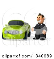 Clipart Of A 3d Happy Short White Businessman Presenting A Green Convertible Car Royalty Free Illustration