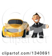 Clipart Of A 3d Happy Short White Businessman Welcoming By A Yellow Convertible Car Royalty Free Illustration by Julos