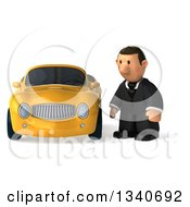 Clipart Of A 3d Sad Short White Businessman By A Yellow Convertible Car Royalty Free Illustration by Julos