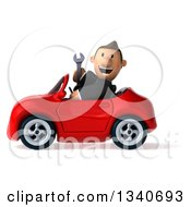Clipart Of A 3d Happy Short White Businessman Holding A Wrench And Driving A Red Convertible Car Royalty Free Illustration by Julos