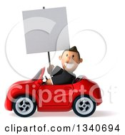 Clipart Of A 3d Happy Short White Businessman Holding A Blank Sign And Driving A Red Convertible Car Royalty Free Illustration by Julos