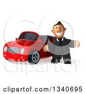 Clipart Of A 3d Happy Short White Businessman Welcoming By A Red Convertible Car Royalty Free Illustration by Julos