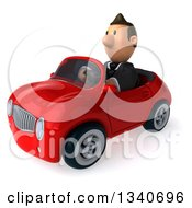 Clipart Of A 3d Happy Short White Businessman Driving A Red Convertible Car Royalty Free Illustration by Julos